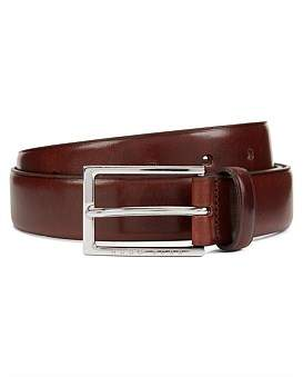 HUGO BOSS Vegetable-Tanned Leather Belt With Silver-Tone Buckle