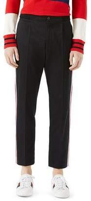 Gucci Cotton Jogging Pants with Sylvie Web, Black $750 thestylecure.com