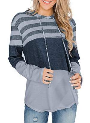 Actloe Women Long Sleeve Striped Color Block Casual Hoodies Loose Patchwork Pullover Sweatshirt Knit Tops Small