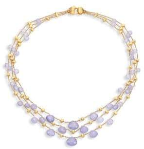 Marco Bicego Paradise Chalcedony & 18K Yellow Gold Graduated Three-Strand Necklace