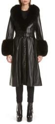 Saks Potts Foxy Leather Coat with Genuine Fox Fur Trim