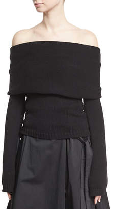 Rosetta Getty Off-the-Shoulder Banded Pullover, Black