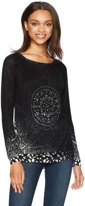 Desigual Women's Woman Flat Knitted Thin Gauge Pullover, black, L