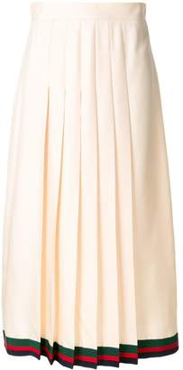 Gucci pleated midi skirt with Web trim