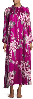 Natori Aziome Floral-Print Zip Lounge Caftan, Plus Size