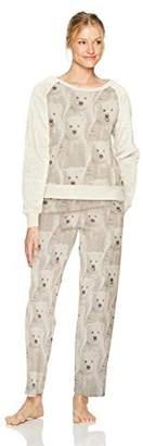 Hue Women's Animal Collage Furry Sleeve Brushed Fleece Pajama Set