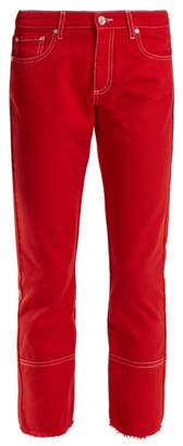 Msgm - High Rise Straight Leg Cropped Jeans - Womens - Red