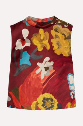 Prada Printed Wool And Silk-blend Top - Burgundy