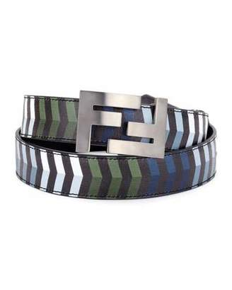 Fendi Double-F Buckle Striped Leather Belt $550 thestylecure.com