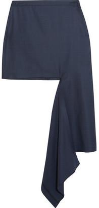 Balenciaga - Asymmetric Checked Wool Mini Skirt - Navy