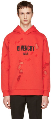 Givenchy Red Distressed Logo Hoodie $1,350 thestylecure.com