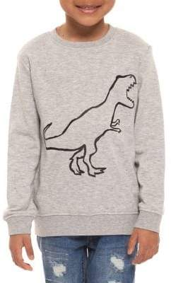 Dex Little Boy's Long-Sleeve Flocked Dino Sweatshirt