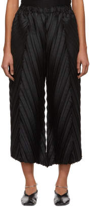 Issey Miyake Black Petiole Pleats Wide Trousers