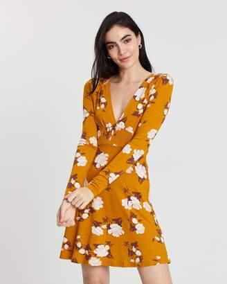 Miss Selfridge Floral Long Sleeve Shirred Tea Dress