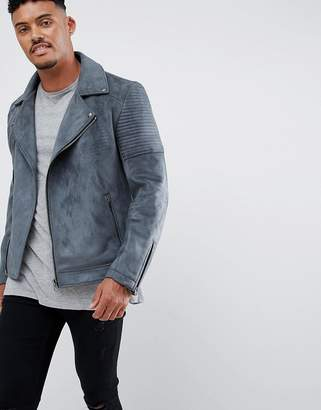 Asos Design DESIGN faux suede biker jacket in grey