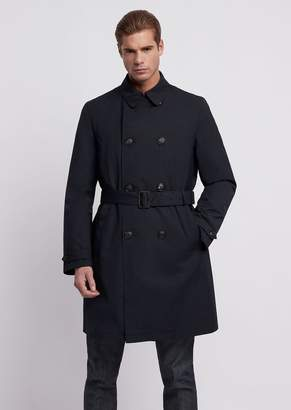 Emporio Armani Double-Breasted Trench Coat With Belt, In Coated Rayon
