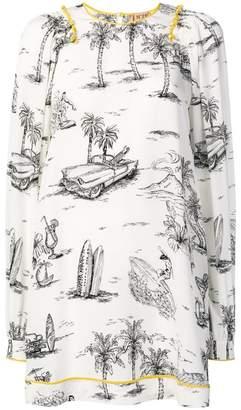 No.21 Cuban print straight-cut dress