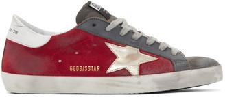 Golden Goose Red and Grey Suede Superstar Sneakers