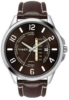 Timex Classic Men's Day Date Brown Leather Watch TW2T44900NG