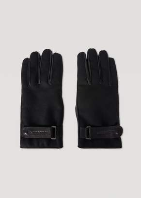 Emporio Armani Bi-Material Leather And Boiled Wool Gloves With Straps