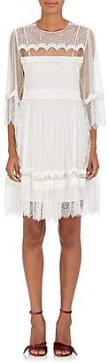 Alberta Ferretti WOMEN'S LACE & VELVET A-LINE DRESS - WHITE SIZE 44 IT