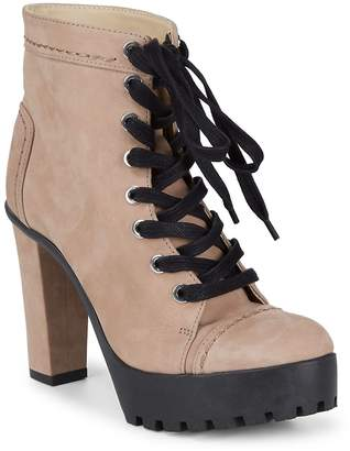 Schutz Women's Aruna Block Heel Leather Lace-Up Booties