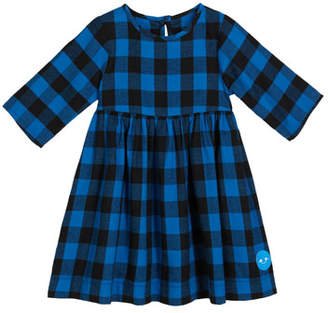 Smiling Button Flannel Buffalo Check Dress, Size 2-6
