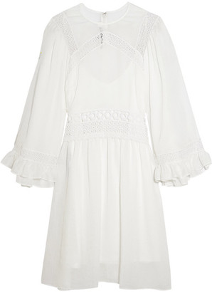 McQ Alexander McQueen - Guipure Lace-trimmed Gauze Mini Dress - Ivory $595 thestylecure.com