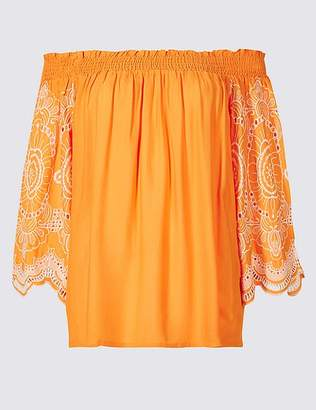 Marks and Spencer Embroidered 3/4 Sleeve Bardot Top