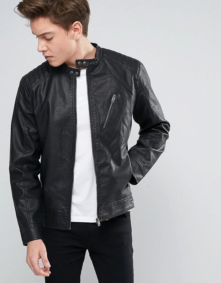 Jack And JonesJack & Jones Core Biker Jacket In Faux Leather