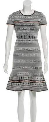 Herve Leger Short Sleeve Knee-Length Dress White Short Sleeve Knee-Length Dress