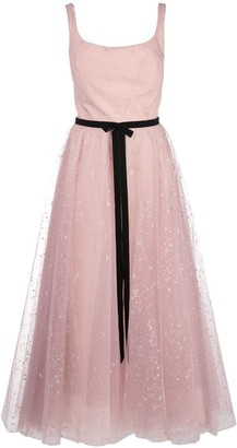 Marchesa glitter tulle tea length dress