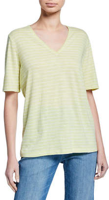 Eileen Fisher Striped V-Neck Short-Sleeve Organic Cotton Slub Tee