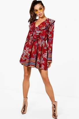 boohoo Flute Sleeve Bohemian Print Skater Dress