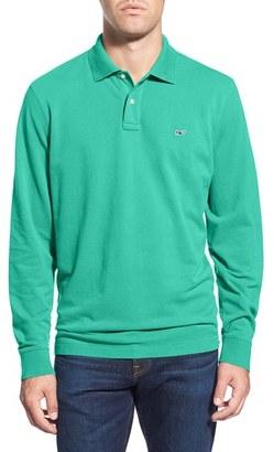 Men's Vineyard Vines Long Sleeve Pique Knit Polo $85 thestylecure.com
