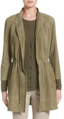 Women's Lafayette 148 New York Vangeline Suede Tie Waist Coat $1,298 thestylecure.com