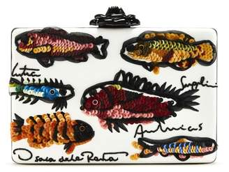 Oscar de la Renta Fish Embroidered Leather Rogan Clutch