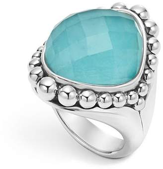 Lagos Sterling Silver Maya Escape Turquoise Doublet Dome Ring
