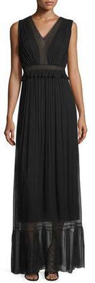 Elie Tahari Amilia Sleeveless Pleated SIlk Maxi Dress, Black $548 thestylecure.com