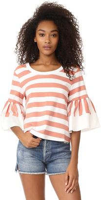 See by Chloe Flare Sleeved Striped Tee $225 thestylecure.com