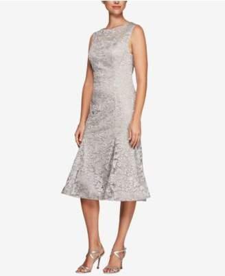 Alex Evenings Embroidered Tulle Midi Dress