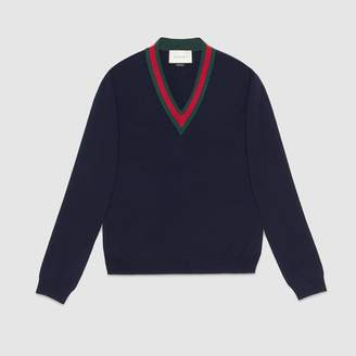 Gucci Wool V-neck sweater with Web
