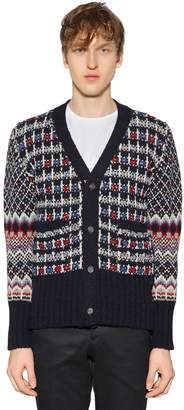 Thom Browne Wool & Mohair Jacquard Knit Cardigan