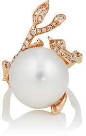 Samira 13 Women's Diamond & Pearl Vine Ring-White