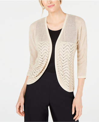 JM Collection Petite Metallic Mixed-Stitch Cardigan Sweater