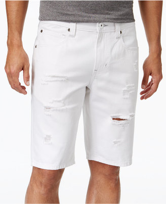 INC International Concepts Men's Ripped White Wash Jean Shorts, Only at Macy's $49.50 thestylecure.com