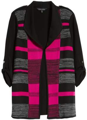 Ming Wang Colorblock Roll-Tab Sleeve Knit Jacket