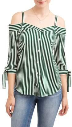 Millenium Women's Stripe Off the Shoulder Tie Sleeve Top