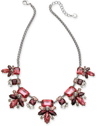 """Charter Club Silver-Tone Crystal & Stone Flower Statement Necklace, 17"""" + 2"""" extender"""