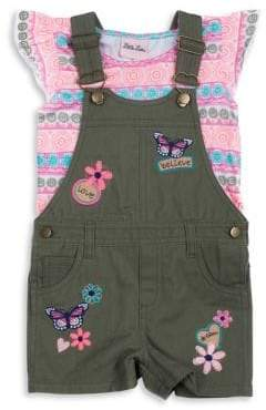 Little Lass Little Girl's Two-Piece Printed Top and Embroidered Shortall Set